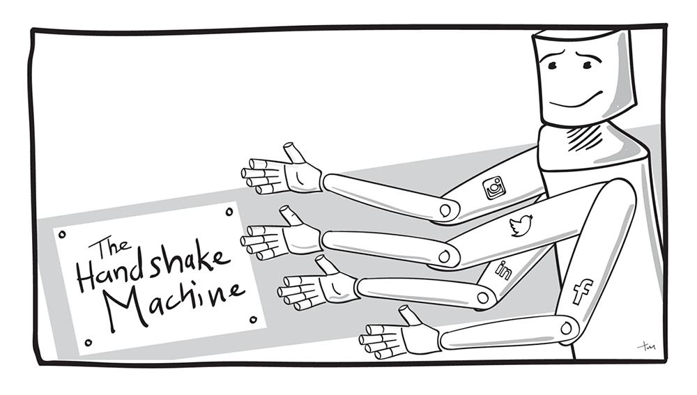Graphic of a handshake machine