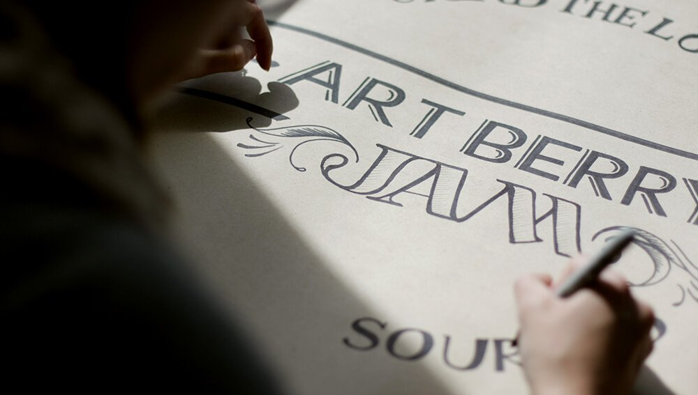 Hand-lettered label for JAM window display