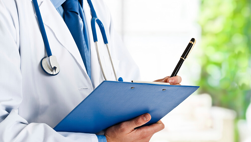 Doctor holding a clip board