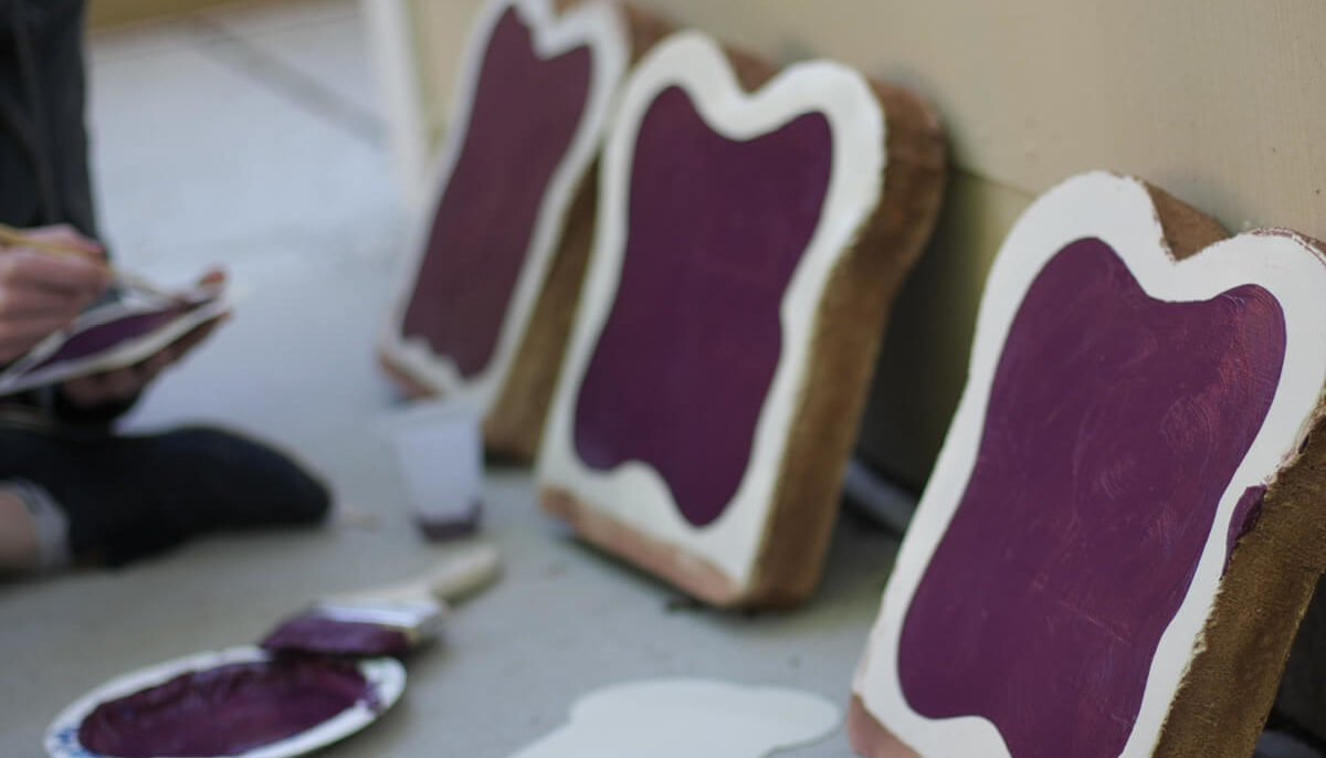 Painted pieces of toast for the JAM window display