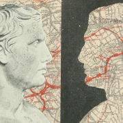 Roman bust, superimposed on a map of London, looking at a silhouette of the same bust filled in with the same map