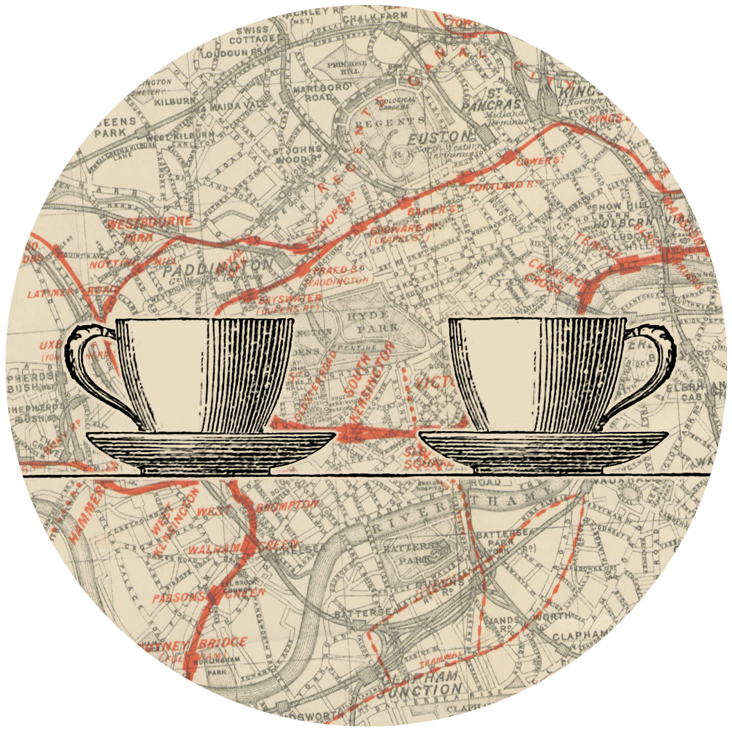 Two coffee cups, overlaid on an old map of London